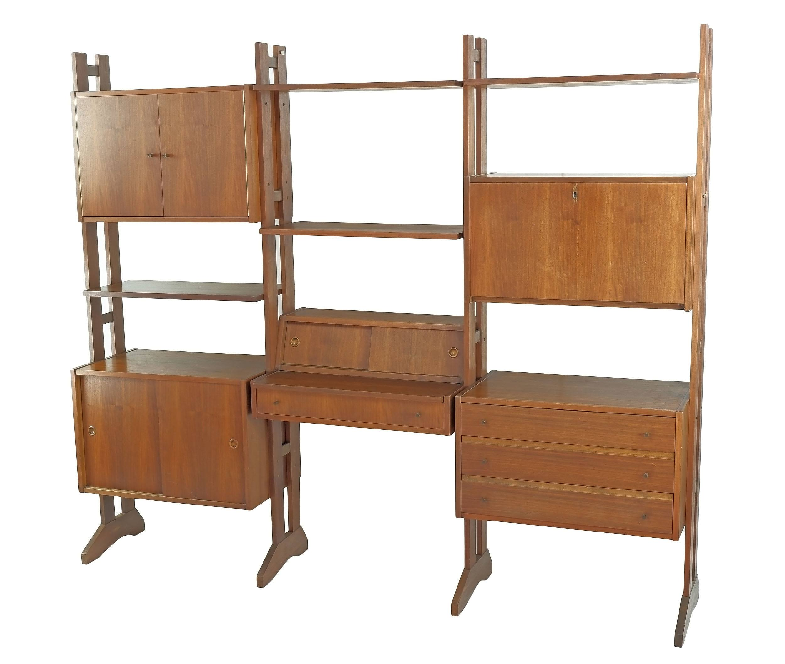 'American Teak Modular Bookcase with Records and Drinks Cabinet, Circa 1970s'