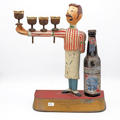 1950s Pabst Blue Ribbon Beer Painted Cast Metal Bar Advertising Figure