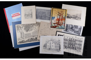 A Folio of Unframed Vintage Prints, Maps and Engravings, Mostly Architectural Subjects, Largest 38 x 48 cm