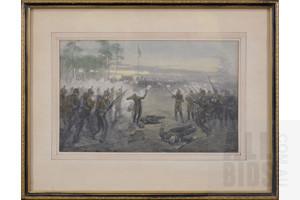 William Smedley (1858-1920), Eureka Stockade Ballarat, Coloured Engraving, 16 x 26 cm (image size)