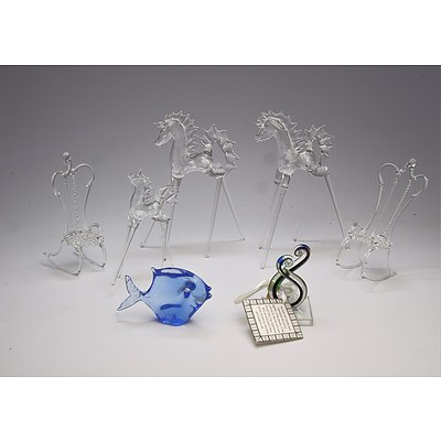 Group of Hand Blown Glass Figurines and a Small Art Glass Sculpture