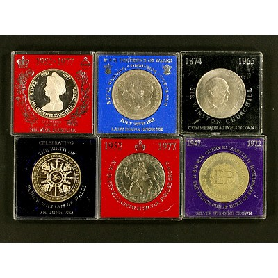 6 Crown-sized Commemorative Coins - UK