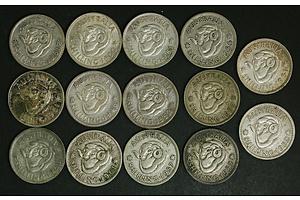 Australia Post-1945 Silver Shilling Coins (x14)