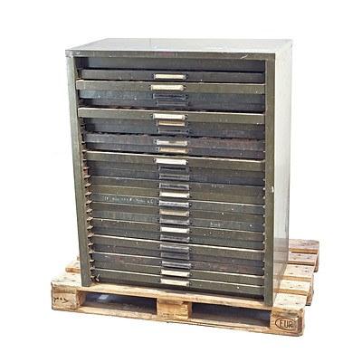 Large Vintage 24 Drawer Metal Cabinet Containing a Large Selection of Vintage Printing Blocks