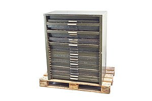 Large Vintage 24 Drawer Metal Cabinet Containing a Large Selection of Vintage Printing Blocks