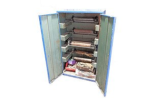Large Vintage Metal Cabinet Containing a Selection of Vintage Printing Blocks and Equipment