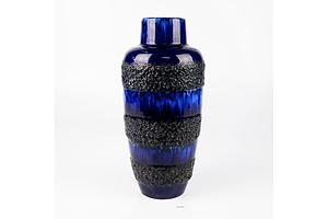 Retro West German Pottery Blue Lava Vase