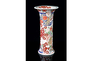 Japanese Hand Painted Imari Ware Vase with Lion and Flowers, 20th Century