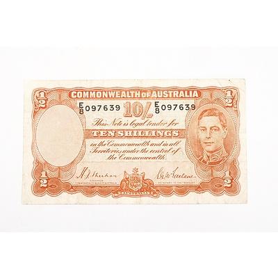 Australian 1939 Sheehan/ McFarlane Ten Shilling Banknote, R12 E8097639