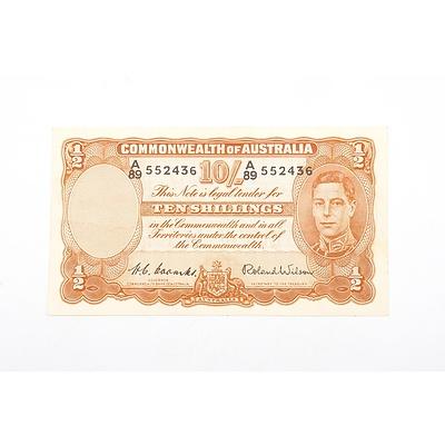 Australian 1952 Coombs/ Wilson Ten Shilling Banknote, R15 A89552436