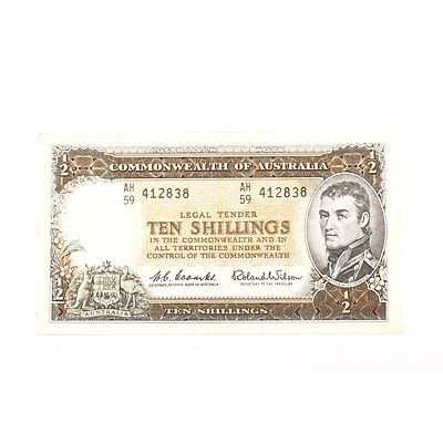 Australian 1961 Coombs/ Wilson Ten Shilling Banknote, R17 AH59412838