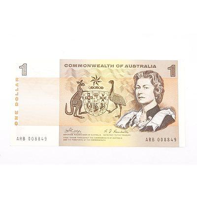 Australian 1969 Phillips/ Randall One Dollar Banknote, R73 ARB008849