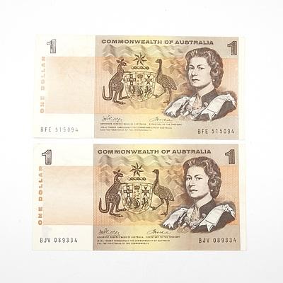 Two Australian 1972 Phillips/ Wheeler One Dollar Banknotes, R74 BFE515094 and BJV089334