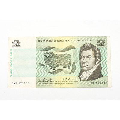 Australian 1968 Coombs/ Randall Two Dollar Banknote, R82 FNB623290