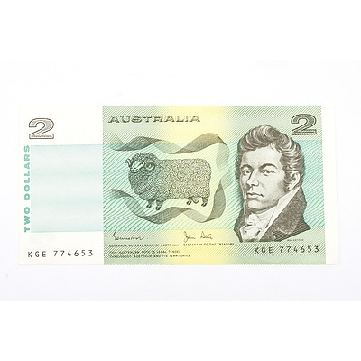 Australian 1983 Johnston/ Stone Two Dollar Banknote, R88 KGE774653