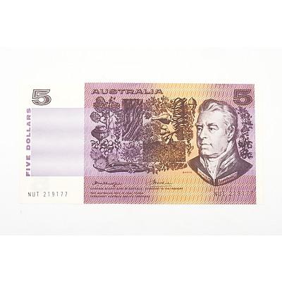 Australian 1976 Knight/ Wheeler Five Dollar Banknote, R206a NUT219177