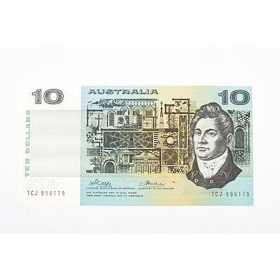Australian 1974 Phillips/ Wheeler Ten Dollar Banknote, R305 TCJ896179