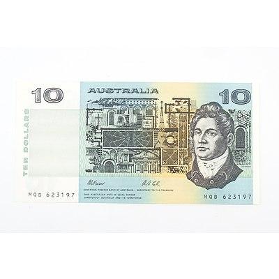 Australian 1991 Fraser/ Cole Ten Dollar Banknote, R313a MQB623197