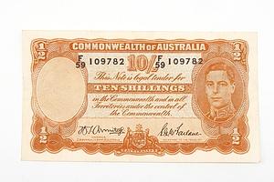 Australian 1942 Armitage/ McFarlane Ten Shilling Banknote, R13 F59109782