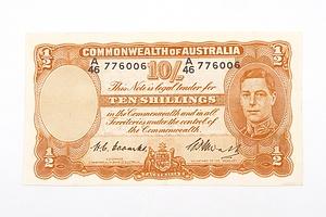 Australian 1949 Coombs/ Watt Ten Shilling Banknote, R14 A46776006