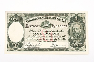 Australian 1933 Riddle/ Sheehan One Pound Banknote, R28 M86576573
