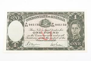 Australian 1938 Sheehan/ McFarlane One Pound Banknote, R29 P65945130