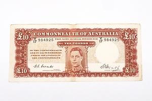 Australian 1949 Coombs/ Watt Ten Pound Banknote, R60 V17984925