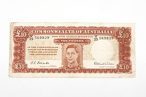 Australian 1952 Coombs/ Wilson Ten Pound Banknote, R61 V23569829