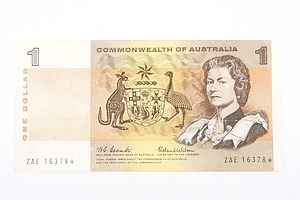 Australian STAR NOTE 1966 Coombs/ Wilson One Dollar Star Replacement Banknote, R71S ZAE16378