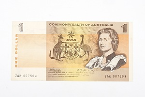 Australian STAR NOTE 1969 Phillips/ Randall One Dollar Star Replacement Banknote, R73S ZAK00750