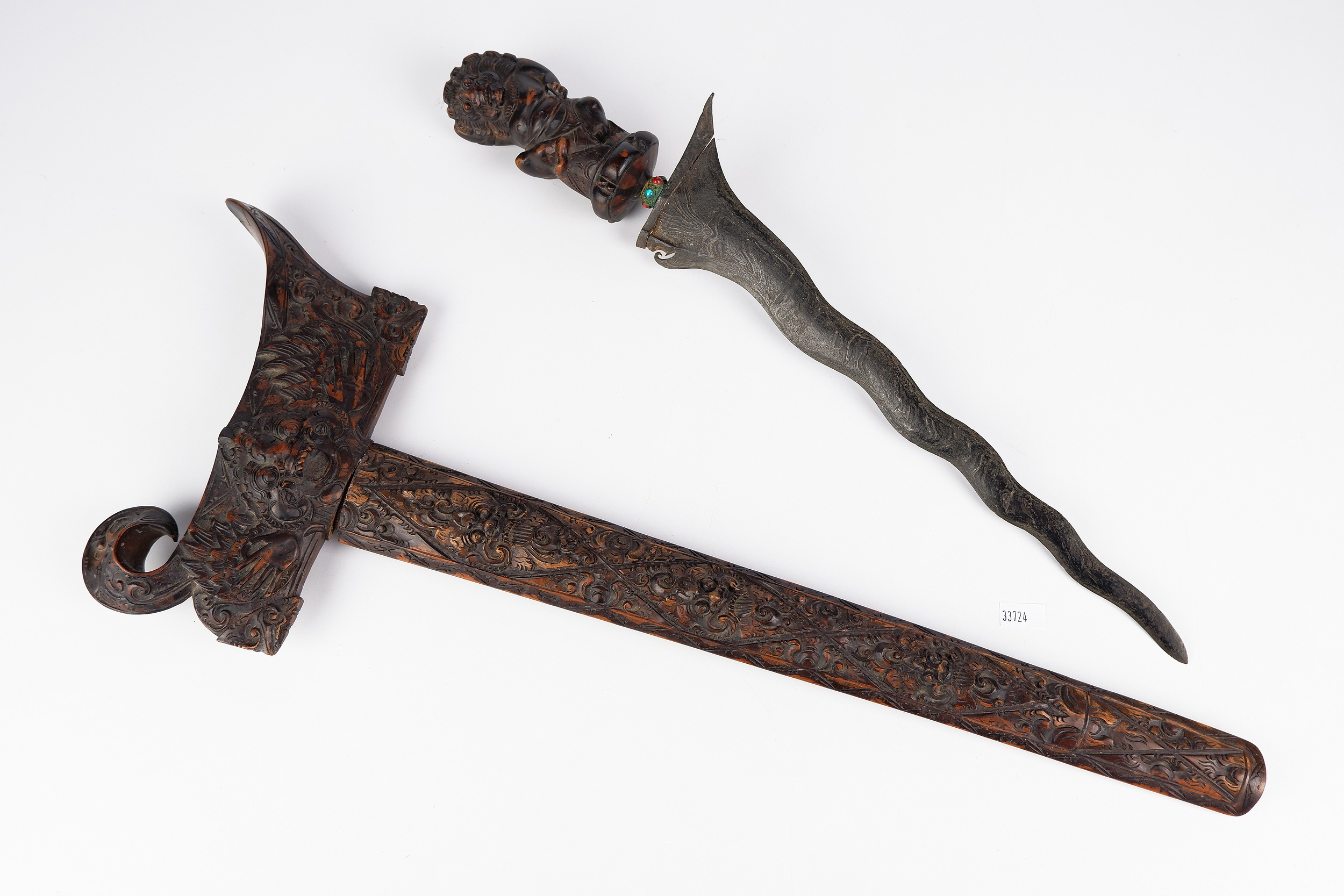 'Indonesian Kris with an Antique Laminated Nickel Iron Blade'
