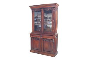 Antique Style Solid Mahogany Dresser Cabinet with Glass Doors Above