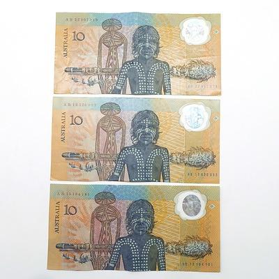 Three Australian 1988 Bicentennial $10 Notes, AB15184181, AB13526033 and AB32507919