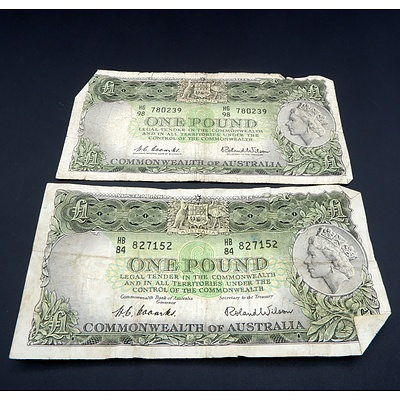 Two Commonwealth of Australia Coombs/ Wilson One Pound Notes, HG98 780239 and HB84 827152