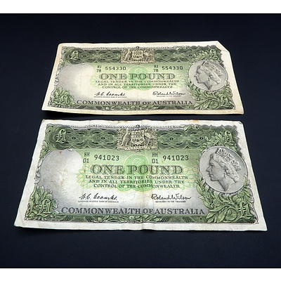Two Commonwealth of Australia Coombs/ Wilson One Pound Notes, HH01 941023 and HJ78 554330