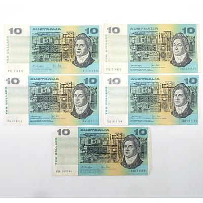Five Australian Knight/ Stone $10 Notes, TQA, TQD, TPH, TSZ and TTL