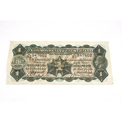 Commonwealth of Australia Riddle/ Heathershaw One Pound Note, J91 547602