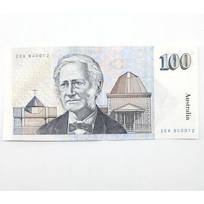 Australian Fraser/ Johnston $100 Note, ZEH840012