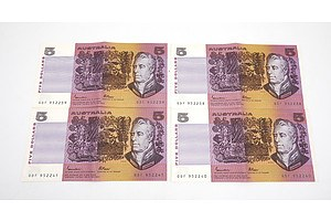 Four Consecutively Numbered Australian Johnston/ Fraser $5 Notes, QDF952238-QDF952241