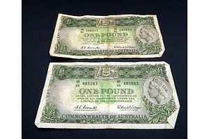 Two Commonwealth of Australia Coombs/ Wilson One Pound Notes, HE41 346077 and HH44 485083