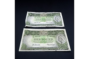 Two Commonwealth of Australia Coombs/ Wilson One Pound Notes, HK04 387535 and HI72 365725