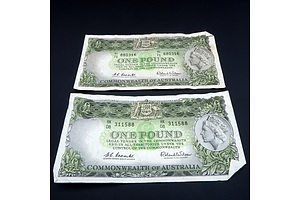 Two Commonwealth of Australia Coombs/ Wilson One Pound Notes, HK08 311588 and HI71 880316