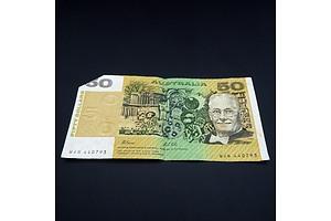 Australian Fraser/Cole $50 Note, WJN 440793