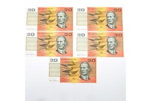 Five Consecutively Numbered Fraser/ Higgins $20 Notes, RDA 702573- RDA 702577