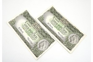 Two Commonwealth of Australia Coombs/ Wilson One Pound Notes, HH54644100 and HH64678545