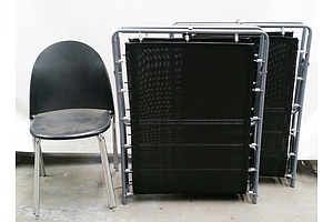 Two Metal Frame Foldout Beds and Two Stacking Chairs