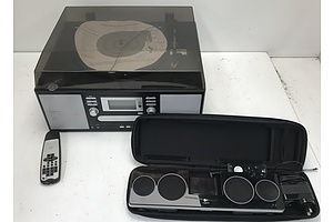 AWA E-6880 Turntable with Casette CD Player and Recorder and Logitech Ipod Dock