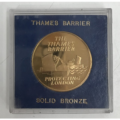 Thames Barrier Solid Bronze Coin