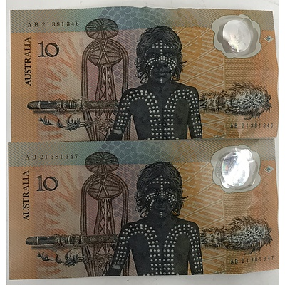 Two Consecutively Numbered Australian 1988 Bicentennial $10 Notes (2)