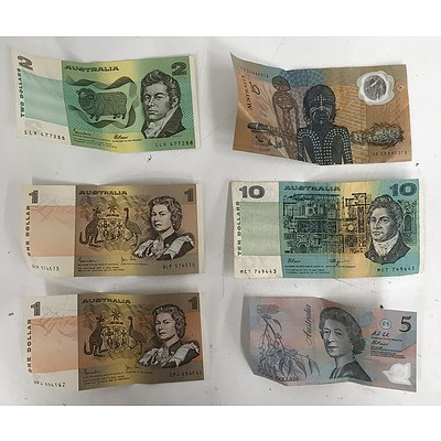 Assorted Australian Bank Notes, Including 1988 Bicentennial $10 Note